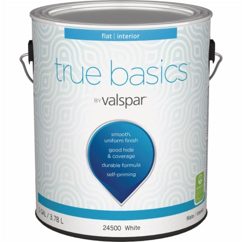 True Basics by Valspar Flat Interior Wall Paint, 1 Gal., White 080.0024500.007 Perspective: front