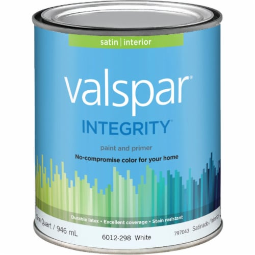Valspar Integrity Latex Paint And Primer Satin Interior Wall Paint, White, 1 Qt. Perspective: front