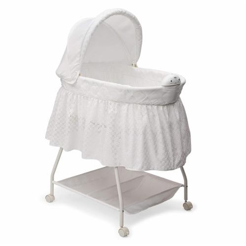 Delta Children Infant Deluxe Sweet Beginnings Baby Bedside Bassinet, Turtle Dove Perspective: front