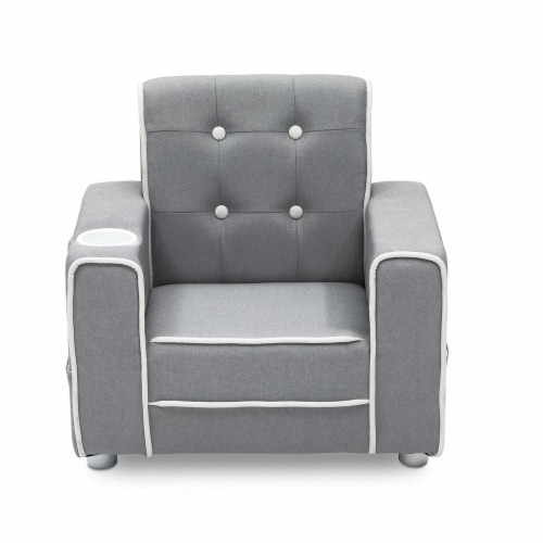 Delta Children Chelsea Kids Toddler Upholstered Chair with Cup Holder, Gray Perspective: front