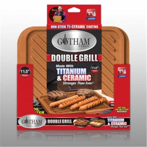 Gotham Steel 1220 Double Sided Non-Stick Grill-Griddle Perspective: front