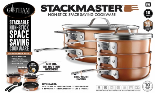Gotham Steel Stackmaster Non-Stick Cookware Set Perspective: front