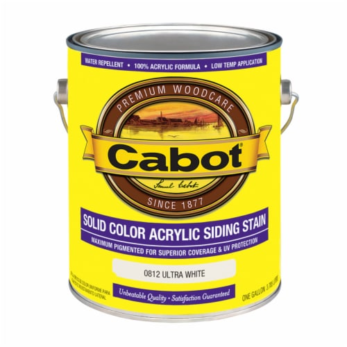 Cabot Solid Ultra White Water-Based Acrylic Solid Color Acrylic Deck Stain 1 gal. - Case Of: Perspective: front