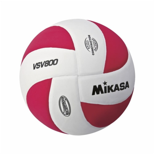 Mikasa Sports 1569079 Soft Cover Squish Volleyball, White & Red Perspective: front