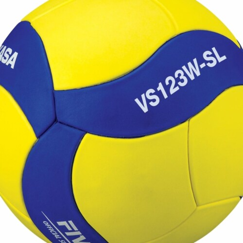 Mikasa 2019898 VS123WSL Size 5 Official Super Lightweight Training Volleyball, Yellow & Blue Perspective: front