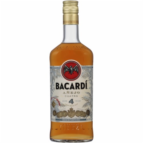 Bacardi Anejo Cuatro 4 Years Aged Gold Rum Perspective: front