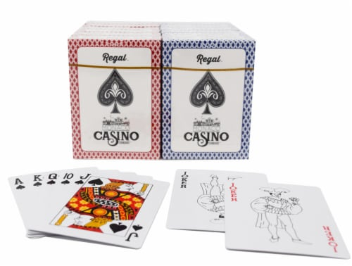 Regal Games Casino Quality Playing Cards - Red/Blue Perspective: front