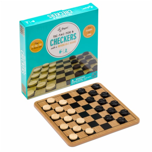 Regal Games Checkers & Tic-Tac-Toe Board and Card Games Set Perspective: front