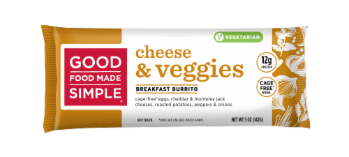 Good Food Made Simple Cheese & Veggies Breakfast Burrito Perspective: front