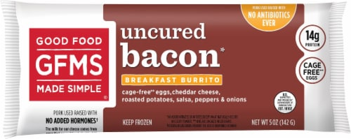 Good Food Made Simple Uncured Bacon Breakfast Burrito Perspective: front