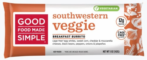 Good Food Made Simple Southwestern Veggie Egg White Breakfast Burrito Perspective: front