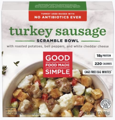 Good Food Made Simple Turkey Sausage Scramble Breakfast Bowl Perspective: front