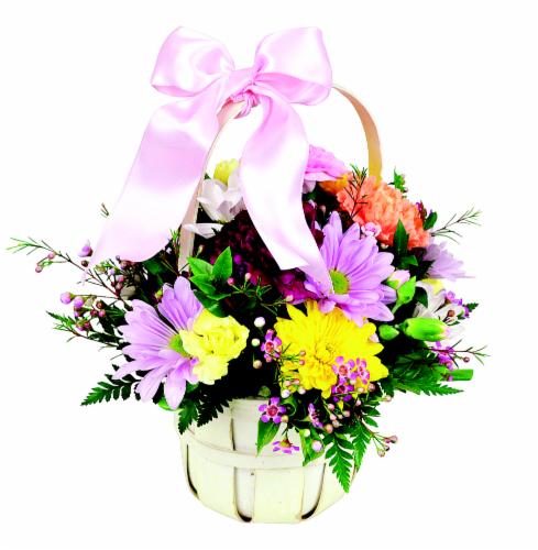 Tisket Tasket Floral Arrangement Basket Perspective: front