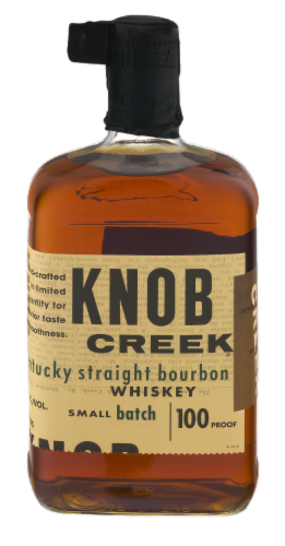 Knob Creek Small Batch 100 Proof Kentucky Straight Bourbon Whiskey Perspective: front