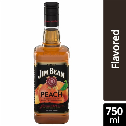 Jim Beam Peach Kentucky Straight Bourbon Whiskey Perspective: front