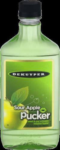DeKuyper Pucker Sour Apple Schnapps Liqueur Perspective: front
