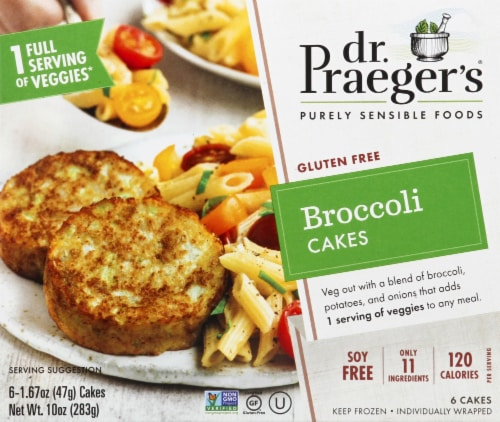 Dr. Praeger's Gluten Free Broccoli Cakes 6 Count Perspective: front