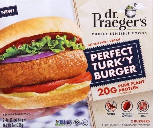 Dr. Praeger's Gluten Free Meatless Perfect Turk'y Burger 2 Count Perspective: front