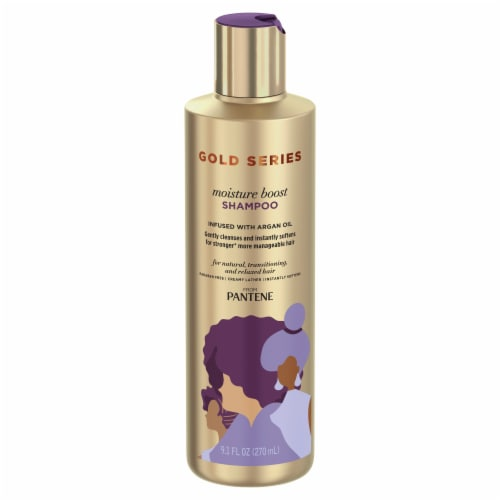 Pantene Gold Series Moisture Boost Shampoo with Argan Oil for Curly Coily Hair Perspective: front