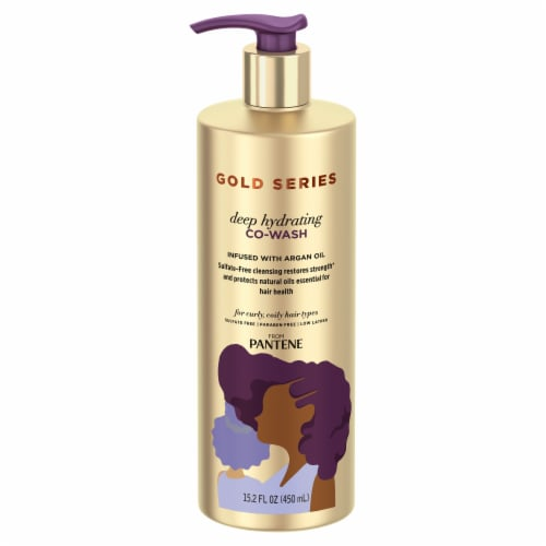 Pantene Gold Series Sulfate-Free Deep Hydrating Co-Wash with Argan Oil for Curly Coily Hair Perspective: front