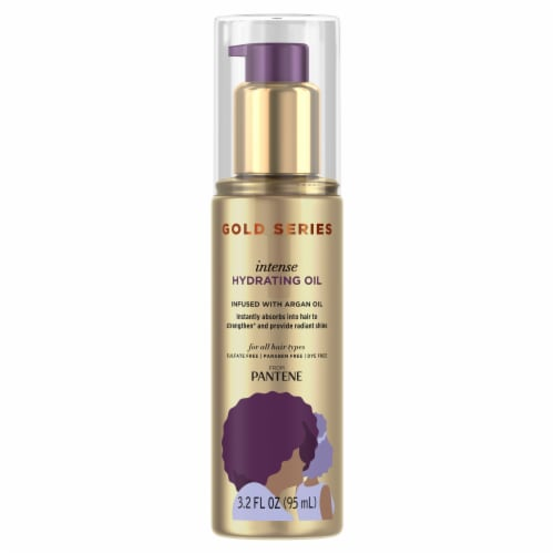 Pantene Gold Series Sulfate-Free Intense Hydrating Oil Treatment for Curly Coily Hair Perspective: front