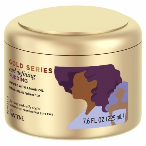 Pantene Gold Series Sulfate-Free Curl Defining Pudding with Argan Oil for Curly Coily Hair Perspective: front
