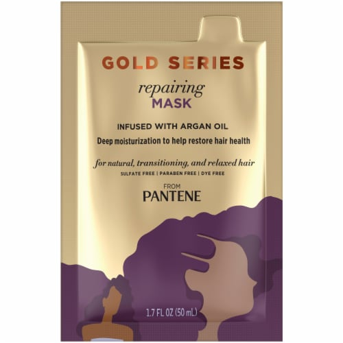 Pantene Gold Series Sulfate-Free Repairing Mask Treatment with Argan Oil for Curly Coily Hair Perspective: front