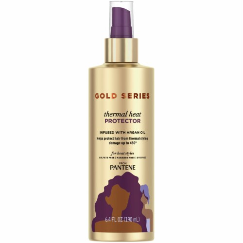 Pantene Gold Series Sulfate-Free Thermal Heat Protector Infused with Argan Oil for Curly Coily Hair Perspective: front