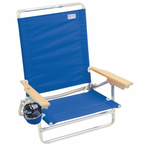 RIO Brands Classic 5 Position Aluminum Lay Flat Folding Beach Lounge Chair, Blue Perspective: front