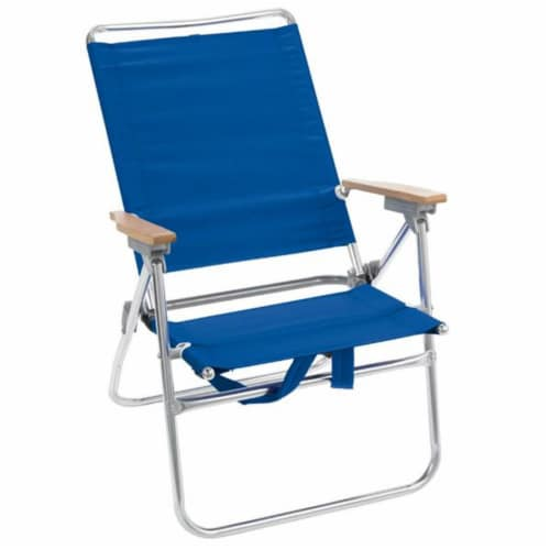 Rio Brands 8385932 15 in. Hiboy 5 Position Beach Chair, Blue - Pack of 4 Perspective: front