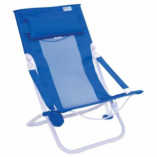 Rio Gear Portable Breeze Hammock Beach Chair w/ Foam Pillow & Cup Holder, Blue Perspective: front