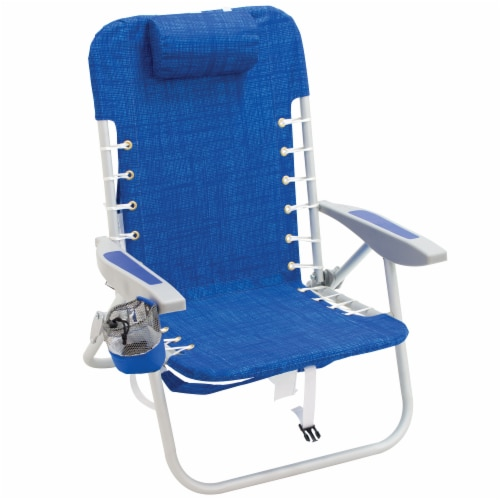 RIO Brands Portable 4 Position Lace Up Folding Backpack Beach Lounge Chair, Blue Perspective: front
