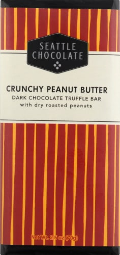 Seattle Chocolate Crunchy Peanut Butter Dark Chocolate Truffle Bar Perspective: front