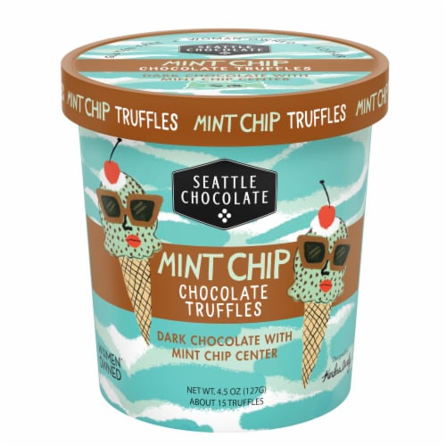 Seattle Chocolate Mint Chip Chocolate Truffles Perspective: front