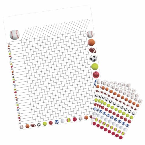 Hygloss Products 1559558 17 x 22 in. Incentive Poster with 9600 Sports Stickers, Assorted Col Perspective: front