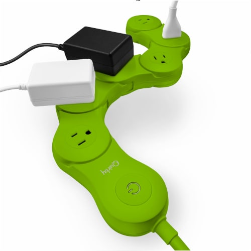 Quirky Pivot Power Green 6-Outlet Surge Protector Perspective: front