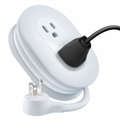 Quirky Port Power White 3-Outlet Extension Cord and Cord Management System Perspective: front