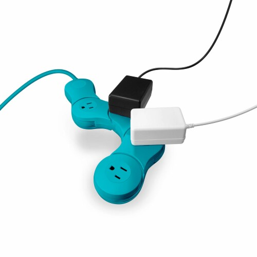 Quirky Pivot Power Junior Teal 4-Outlet Surge Protector Perspective: front