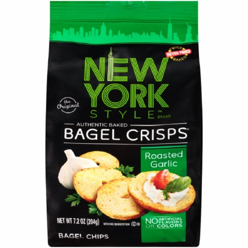 New York Style Roasted Garlic Bagel Crisps Perspective: front