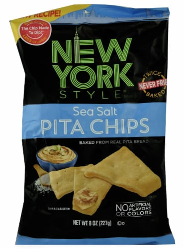 New York Style  Baked Pita Chips   Sea Salt Perspective: front