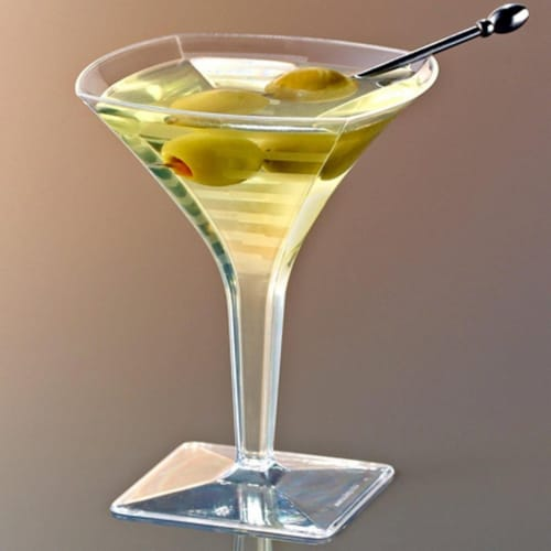 EMI Yoshi EMI-SMTG2 Squares Mini Martini Glass 2 oz, Clear Perspective: front