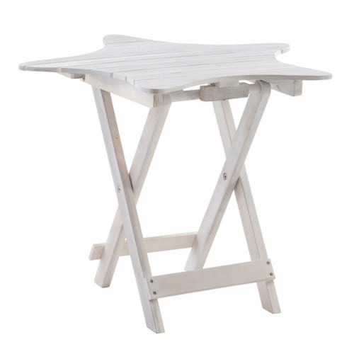 Powell Westover Wood Outdoor Folding Table in Whitewash Perspective: front