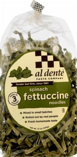 Al Dente Spinach Fettuccine Noodles Perspective: front