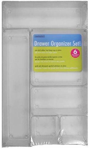 InterDesign Drawer Organizer Set 6 Piece - Clear Perspective: front