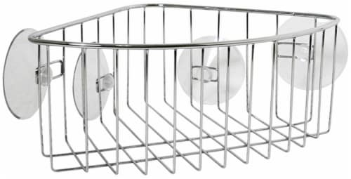 InterDesign Rondo Bath Corner Suction Basket - Stainless Steel Perspective: front