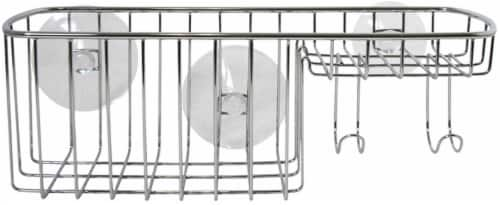 InterDesign Rondo Combo Basket Suction Bath Caddy - Stainless Steel Perspective: front