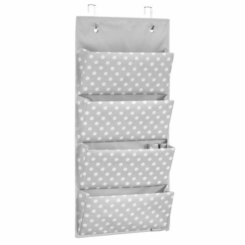 InterDesign 4-Pocket Fabric Hanging Closet Storage Organizer - Gray/White Perspective: front