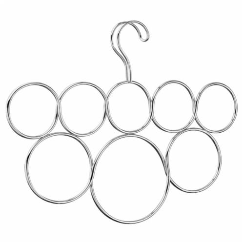 InterDesign Chrome Over Rod 8-Loop Scarf Holder - Silver Perspective: front