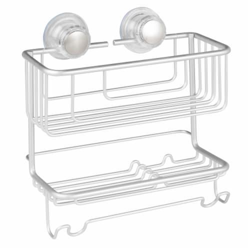 iDesign Metro Aluminum Turn-N-Lock Combo Basket - Silver Perspective: front