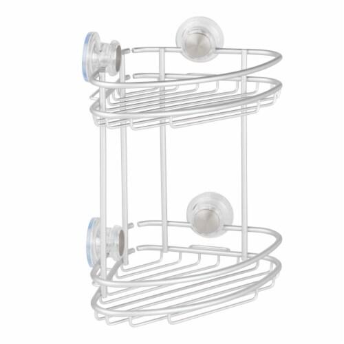 iDesign Metro Turn-N-Lock 2-tier Corner Basket - Silver Perspective: front